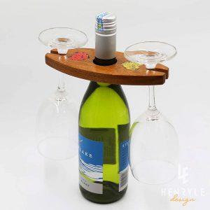 Giá Treo 2 Ly Rượu Vang Ellipse Bằng Gỗ Họa Tiết Bút Chì Màu