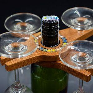 Giá Treo 2 Ly Rượu Vang Bằng Gỗ Hoa Tiết Bút Chì Màu