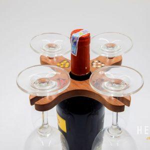 Giá Treo 4 Ly Rượu Vang Bằng Gỗ Họa Tiết Bút Chì Màu